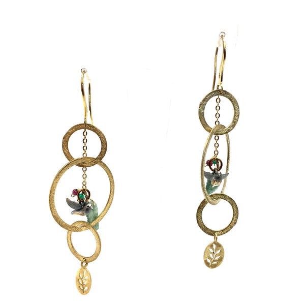 Jade Bird Earrings in 925 Sterling Silver & 18K Gold Plating - Taula Pte Ltd