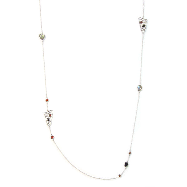 "LABRO-ONYX-GARNET LONG NECKLACE IN 925 STERLING SILVER 36"" - Taula Pte Ltd"