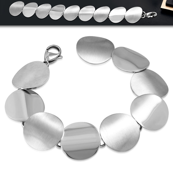 Stainless Steel Circle Disc Link Chain Bracelet - Taula Pte Ltd