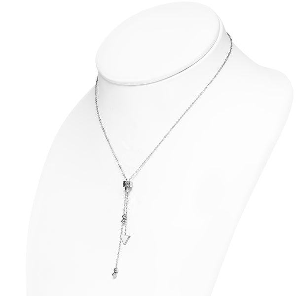Stainless Steel Triangle Charm Tassel Link Chain Y Necklace - Taula Pte Ltd