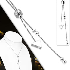 Stainless Steel Triangle Charm Tassel Link Chain Y Necklace