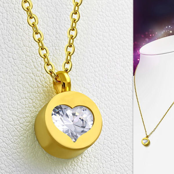 Gold Plated Stainless Steel Heart Charm Necklace W/ Clear CZ - Taula Pte Ltd