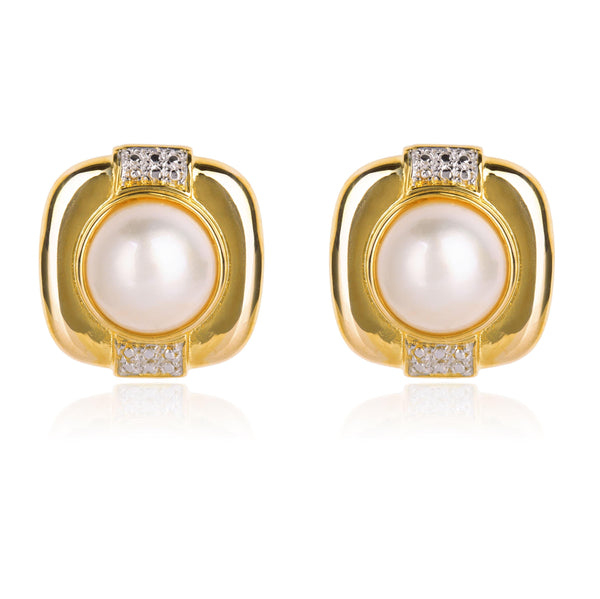 SQUARE PEARL EARRINGS IN 18K WHITE & YELLOW GOLD - Taula Pte Ltd