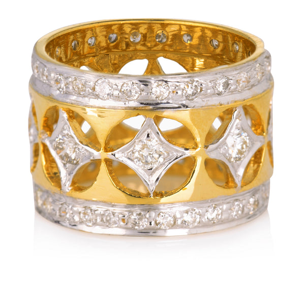 VINTAGE GOLD AND DIAMOND RING IN 18K GOLD