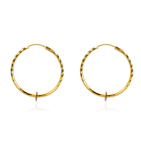 GOLD HOOP EARRINGS IN YELLOW & ROSE GOLD