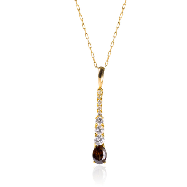 GARNET PENDANT IN 18K GOLD AND SYNTHETIC DIAMONDS - Taula Pte Ltd