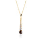 GARNET PENDANT IN 18K GOLD AND SYNTHETIC DIAMONDS