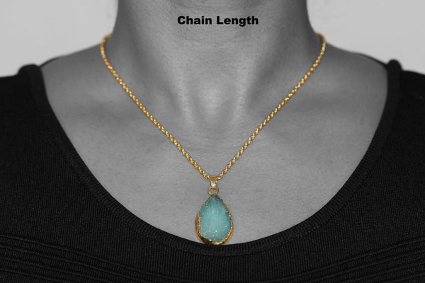 Turquoise Druzy Pendant with Gold Plated Brass Necklace - Taula Pte Ltd