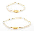 PERSONALIZED MOM DAUGHTER GOLD PLATED PEARL & BIRTHSTONE BRACELET - Taula Pte Ltd