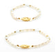 PERSONALIZED MOM DAUGHTER GOLD PLATED PEARL & BIRTHSTONE BRACELET