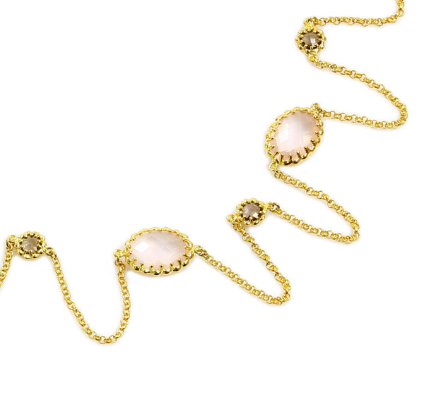 "36"" ROSE QUARTZ NECKLACE IN YELLOW GOLD PLATED 925 STERLING SILVER - Taula Pte Ltd"