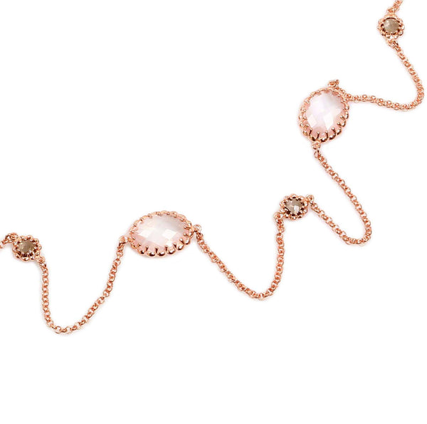 "36"" ROSE QUARTZ NECKLACE IN ROSE GOLD PLATED 925 STERLING SILVER - Taula Pte Ltd"