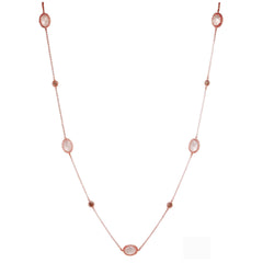 "36"" ROSE QUARTZ NECKLACE IN ROSE GOLD PLATED 925 STERLING SILVER"