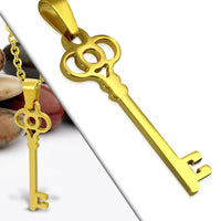 Gold Plated Stainless Steel Classic Key Charm Pendant - Taula Pte Ltd