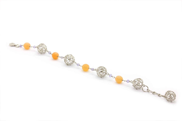 PEACH MOONSTONE BRACELET IN 925 SILVER - Taula Pte Ltd