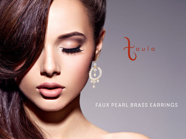 Synthetic Pearl Brass Earrings In Gold Plating Brass