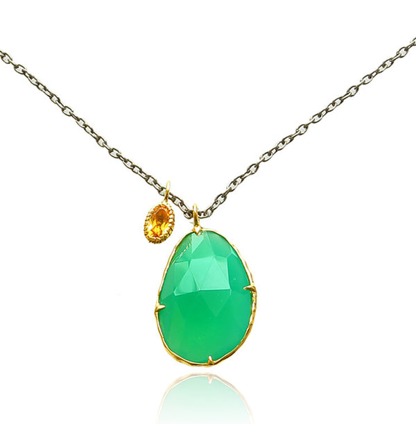 ONYX GREEN & CITRINE NECKLACE IN 925 SILVER & BLK RHODIUM - Taula Pte Ltd