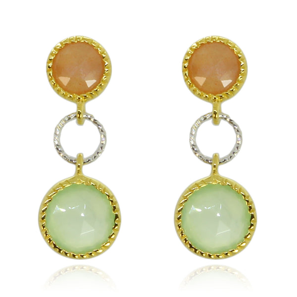 PREHINITE MOONSTONE PEACH EARRINGS - Taula Pte Ltd