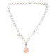 Rose Quartz Amethyst Italian Chain Necklace in 925 Sterling Silver