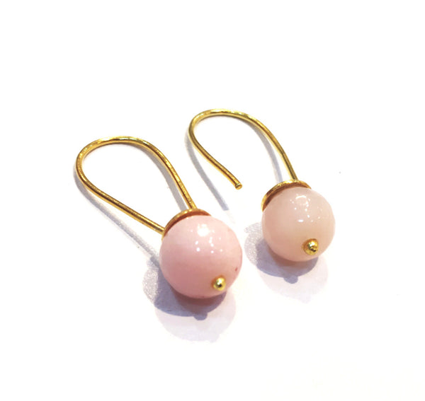 Rose Quartz Drop Hoops - Taula Pte Ltd