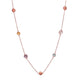 "36"" SEVEN STONE NECKLACE IN ROSE GOLD PLATED 925 STERLING SILVER"