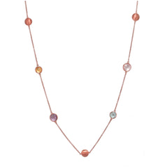 "36"" SEVEN STONE NECKLACE IN ROSE GOLD PLATED 925 STERLING SILVER - Taula Pte Ltd"