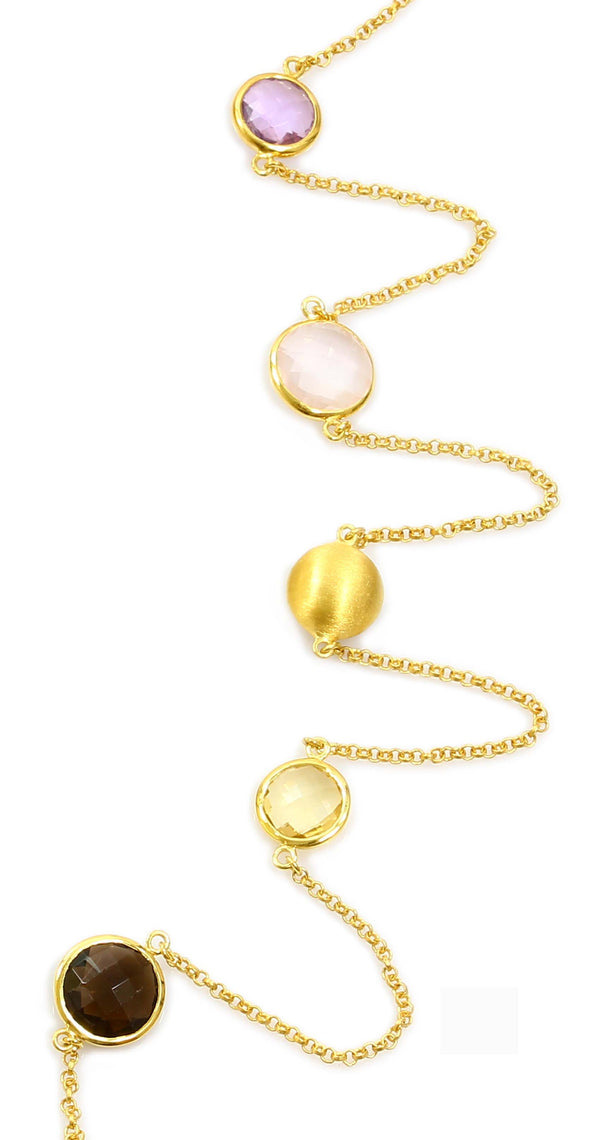"36"" SEVEN STONE NECKLACE IN YELLOW GOLD PLATED 925 STERLING SILVER"