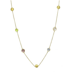 "36"" SEVEN STONE NECKLACE IN YELLOW GOLD PLATED 925 STERLING SILVER - Taula Pte Ltd"