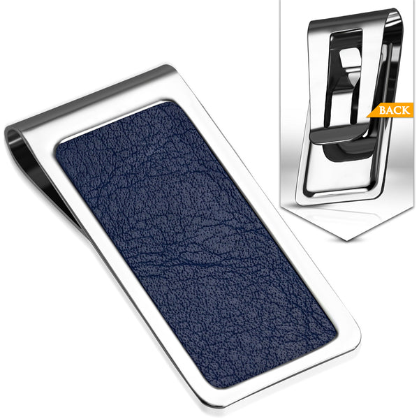 Men's Stainless Steel Business Card Wallet Money Clip with PU Blue Leather - Taula Pte Ltd