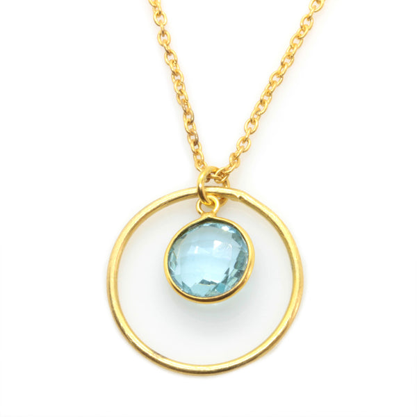 TOPAZ NECKLACE IN GOLD PLATED BRASS - Taula Pte Ltd