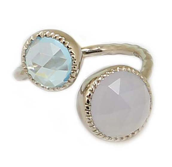 TOPAZ AND CHALCEDONY RING IN 925 STERLING SILVER - Taula Pte Ltd
