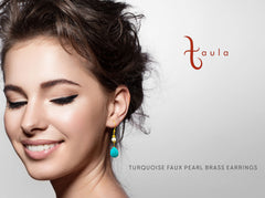 TURQUOISE & SYNTHETIC PEARL BRASS EARRINGS - Taula Pte Ltd