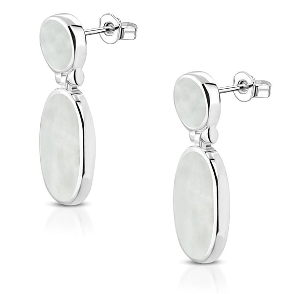 Silver Plated Oval Drop Stud Earrings with Shell Inlay in Brass - Taula Pte Ltd