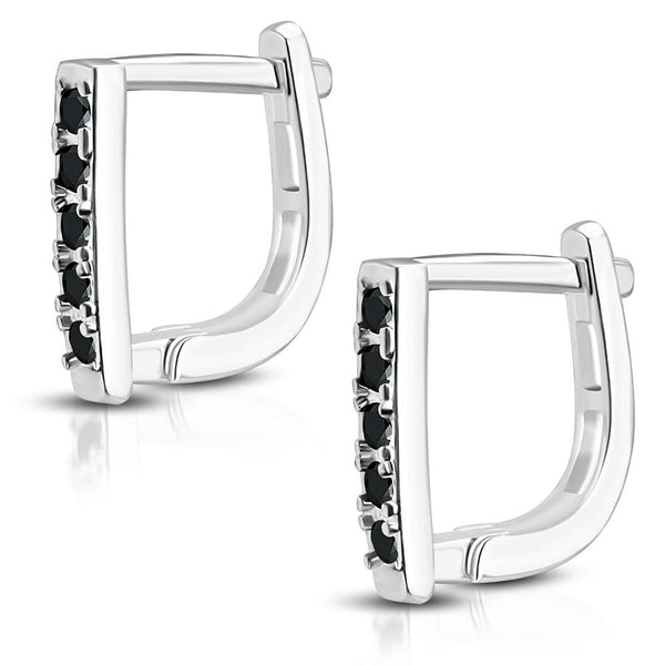 Stainless Steel Square Huggie Earrings with Jet Black CZ - Taula Pte Ltd
