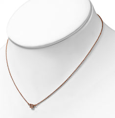Rose/Pink Gold Plated Brass Necklace Petite CZ Square Pendant