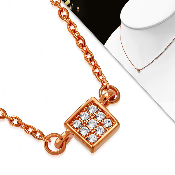 Rose/Pink Gold Plated Brass Necklace Petite CZ Square Pendant - Taula Pte Ltd