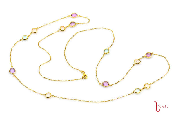 Amethyst, Rose Quartz & Topaz Blue Necklace in 925 Sterling Silver with 18K Yellow Gold Plating - Taula Pte Ltd