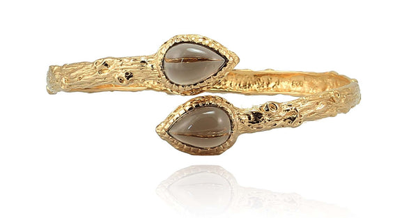 UNIQ CUFF (SMOKY QUARTZ) IN 925 STERLING SILVER & 18K GOLD PLATING - Taula Pte Ltd