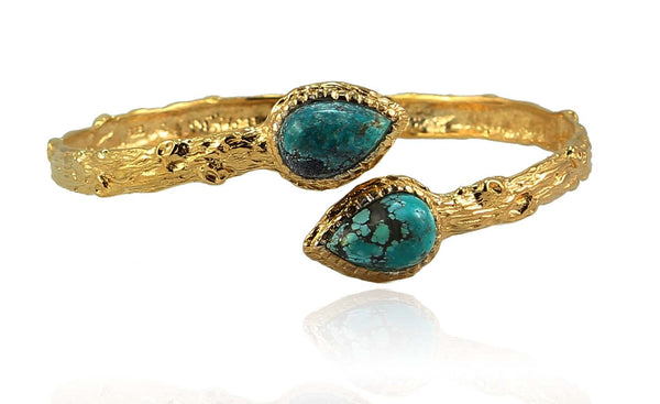 UNIQ CUFF (TURQUOISE STONE) IN 925 STERLING SILVER & 18K GOLD PLATING - Taula Pte Ltd