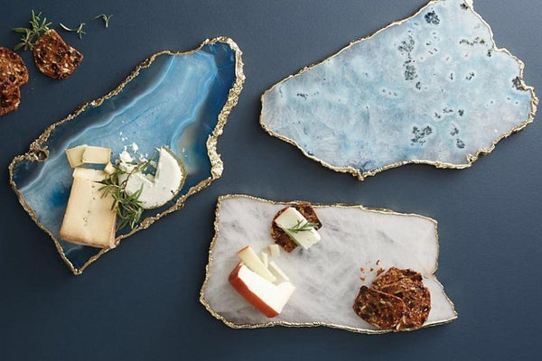 BLUE AGATE STONE CHEESE PLATTER - Taula Pte Ltd