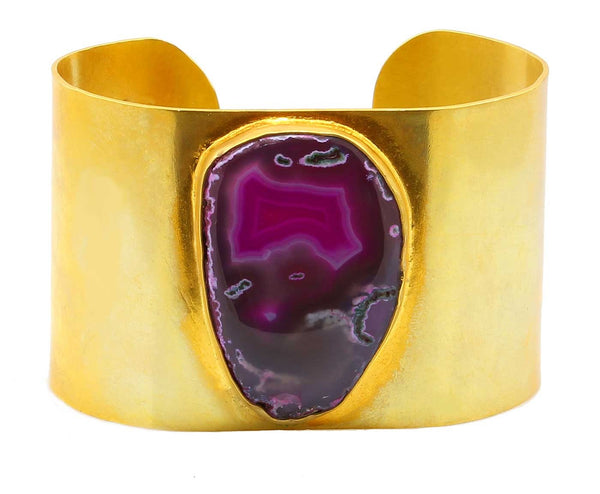 GORGEOUS GEODE CUFF IN GOLD PLATED BRASS - Taula Pte Ltd