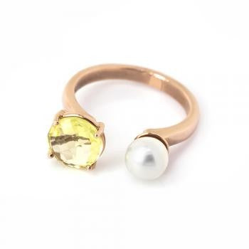 LEMON QUARTZ RING IN 925 STERLING SILVER & 18K ROSE/PINK GOLD PLATING - Taula Pte Ltd