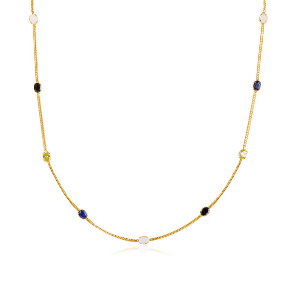 "MOONSTONE ONYX CITRINE SAPPHIRE NECKLACE IN 18K SOLID GOLD (34"") - Taula Pte Ltd"