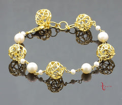 PEARL CAGE BRACELET IN 925 SILVER (18K YELLOW GOLD PLATING) - Taula Pte Ltd