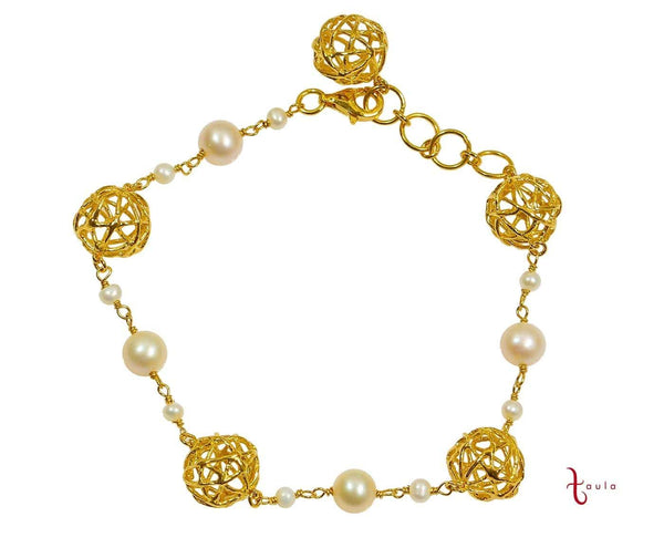 PEARL CAGE BRACELET IN 925 SILVER (18K YELLOW GOLD PLATING)
