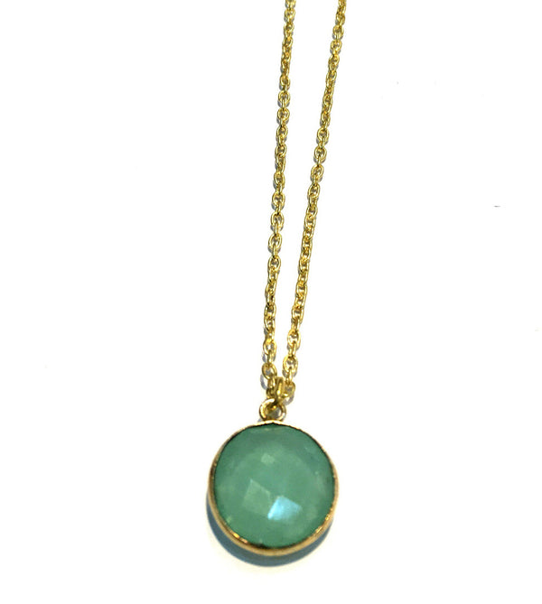 CHALCEDONY PENDANT IN GOLD PLATED BRASS - Taula Pte Ltd