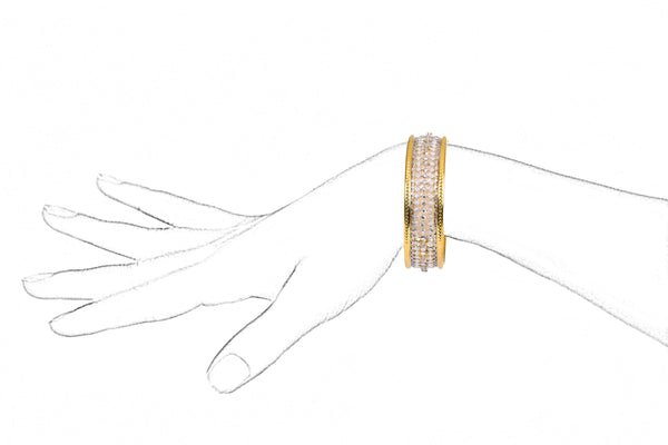 WHITE AND YELLOW GOLD DIAMOND BANGLE