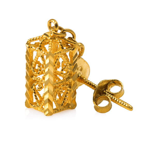 22K GOLD CAGE EARRINGS