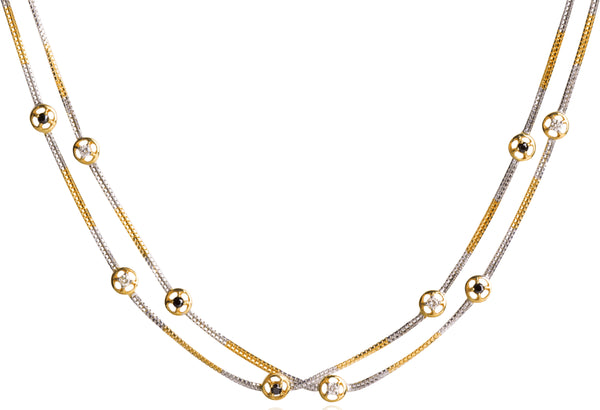 "BLACK AND WHITE DIAMOND NECKLACE IN 18K GOLD (34"")"