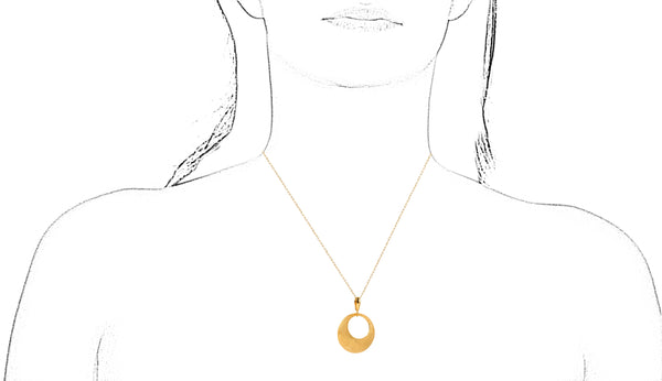 EXQUISITE CRESCENT GOLD PENDANT IN 18K YELLOW GOLD - Taula Pte Ltd